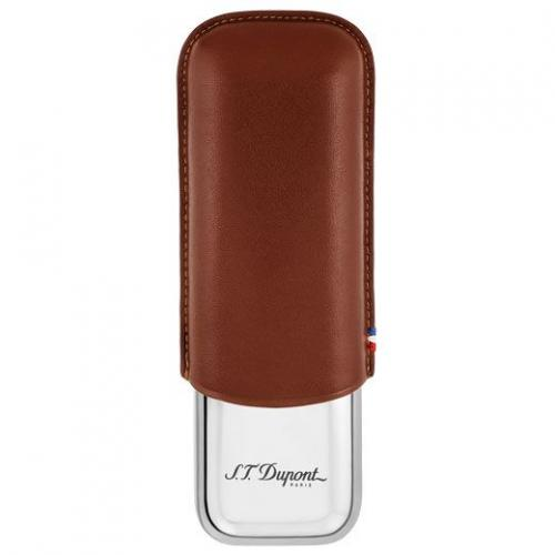 ST Dupont Leather Double Cigar Case Metal Base - Brown