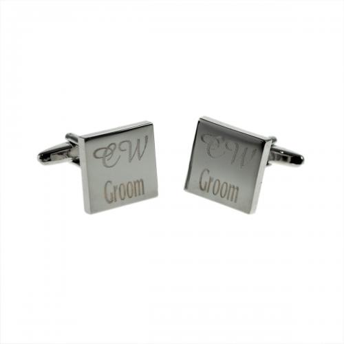 Wedding Personalised Deluxe Square Cufflinks