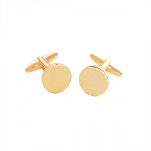 Round Gold Plated Personalised Cufflinks
