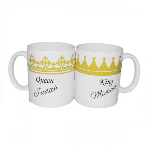 King & Queen Personalised Mug Set