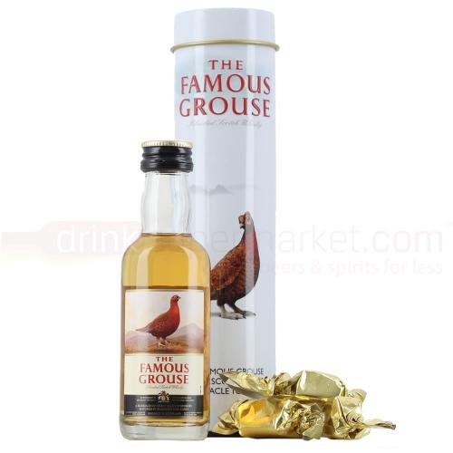 Famous Grouse Whisky Miniature & Treacle Toffee Gift Tin - 5cl 40%