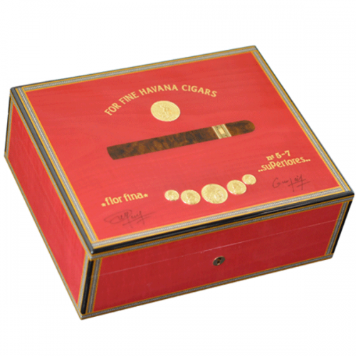Elie Bleu Medals Collection Red Humidor - 75 Cigar Capacity