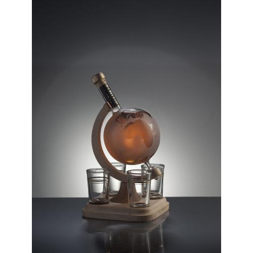 Frosted Glass Globe Whisky Decanter With 4 Shot Glasses