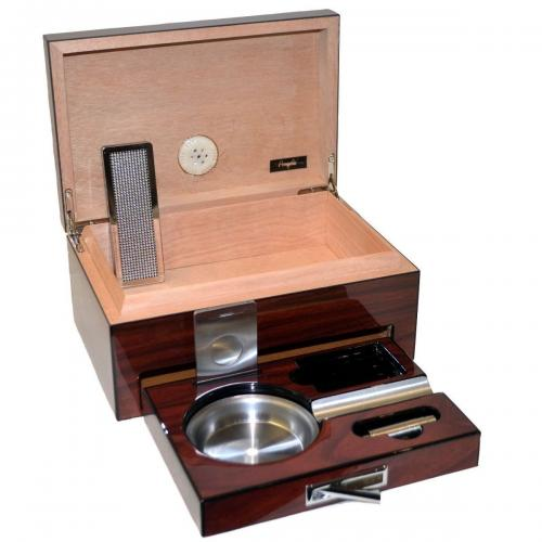 High Lacquered Striped Humidor with Accessories