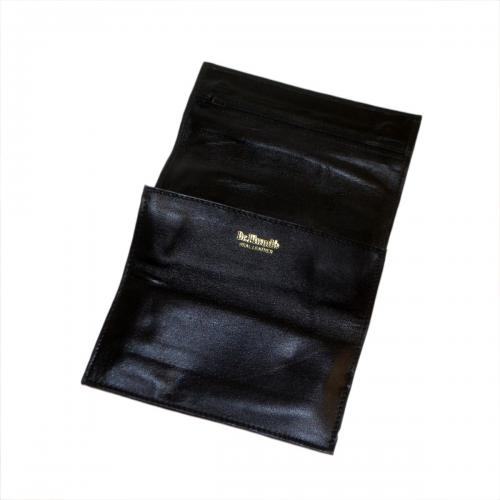 Dr Plumbs Double Roll Up Black Leather Pipe Tobacco Pouch with Magnetic Clasp