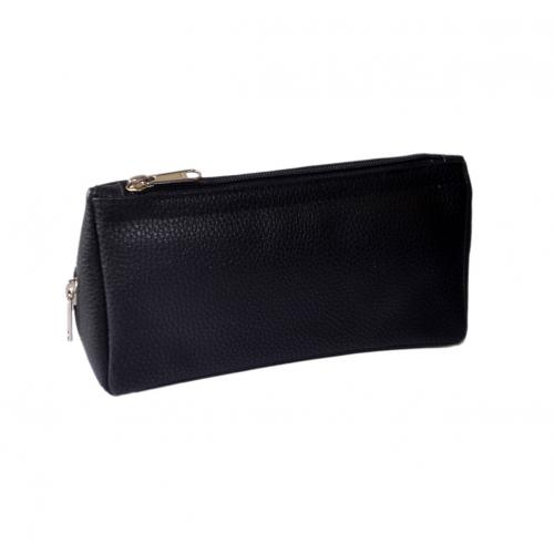 Leatherette Pipe Combination Rubber Lined Black Zip Pouch