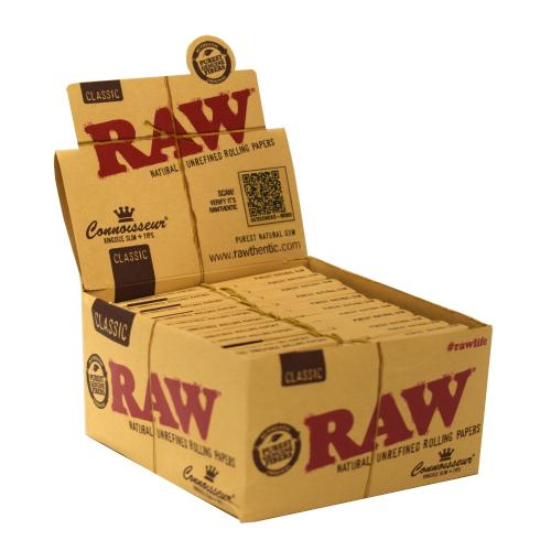 RAW Classic Connoisseur Kingsize Slim Rolling Papers 24 Packs