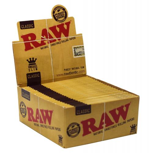 RAW Classic Kingsize Slim Rolling Papers 50 Packs