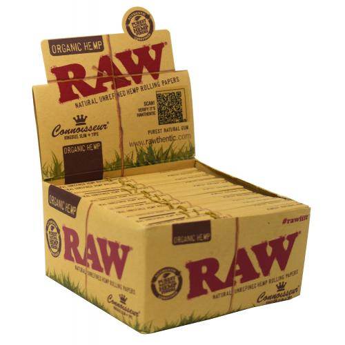 RAW Organic Hemp Connoisseur Kingsize Slim Rolling Papers 24 Packs
