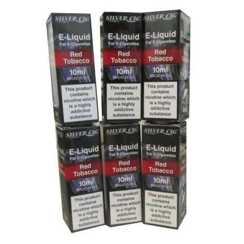 Silver Cig Red Tobacco Vape E- Liquid 6 x 10ml 18mg