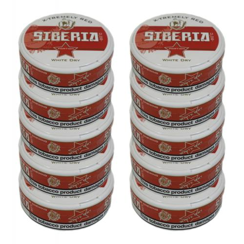 Odens Siberia -80 Degrees White Dry Portion Red Chewing Tobacco Bag - 10 Tins