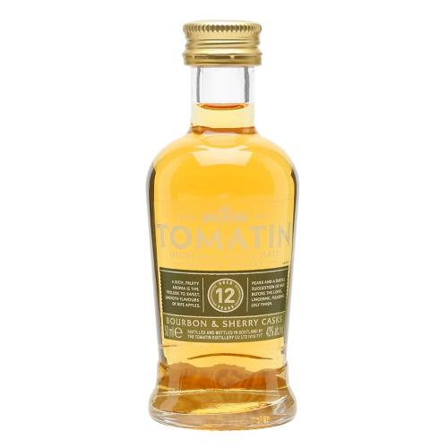 Tomatin 12 Year Old Bourbon & Sherry Cask Finish Whisky Miniature - 5cl 43%