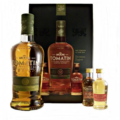 Tomatin 12 Year Old Whisky Gift Pack - 70cl Bottle with 2 Miniatures