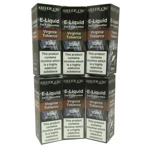 Silver Cig Virginia Tobacco Liquid 6 x 10ml 18mgVape E- Liquid