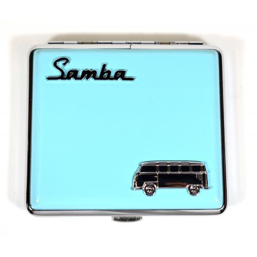 VW Campervan Motif Cigarette Case Holds 18 King Size Double Sided - Light Blue