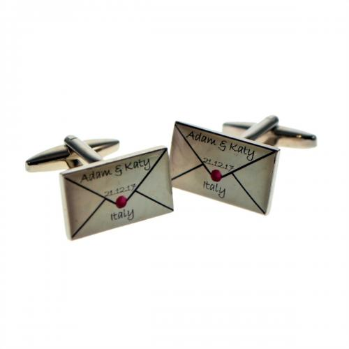 Wedding Invitation Letter Style Personalised Cufflinks