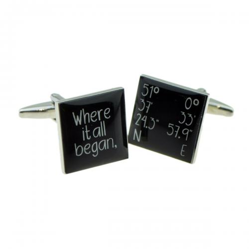 Where it all Began Map Location Personalised Cufflinks