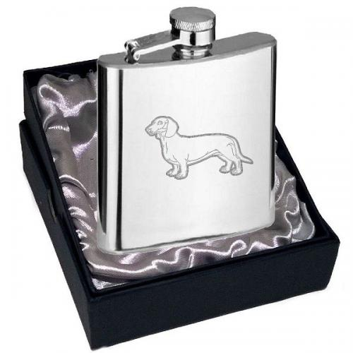4oz Dachshund Design Personalised Hip Flask