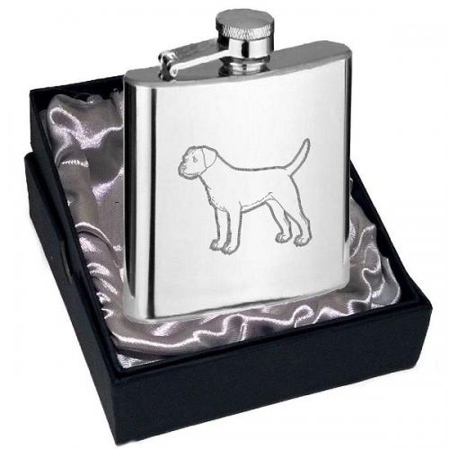 4oz Border Terrier Design Personalised Hip Flask