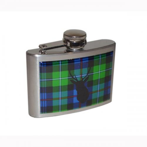 4oz Mac Kenzie Tartan Stag Personalised Hip Flask