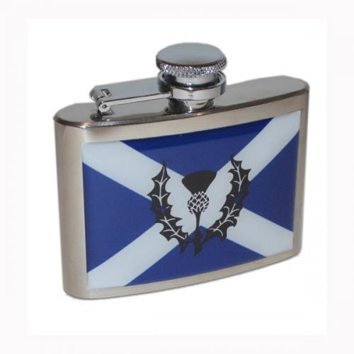 4oz Scottish Saltire Thistle Personalised Hip Flask