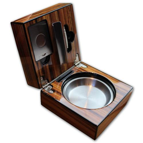 Folding Cigar Ashtray With Accessories – Zebrano Finish