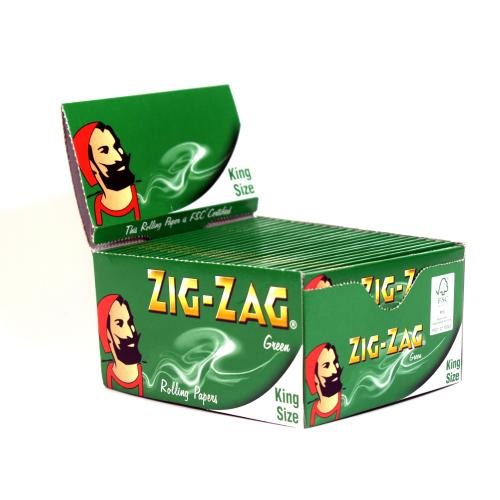 Zig-Zag King Size Green Rolling Papers 50 Packs